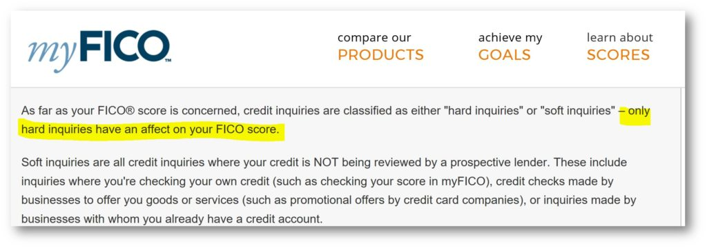 soft credit inquiries do not affect your credit score