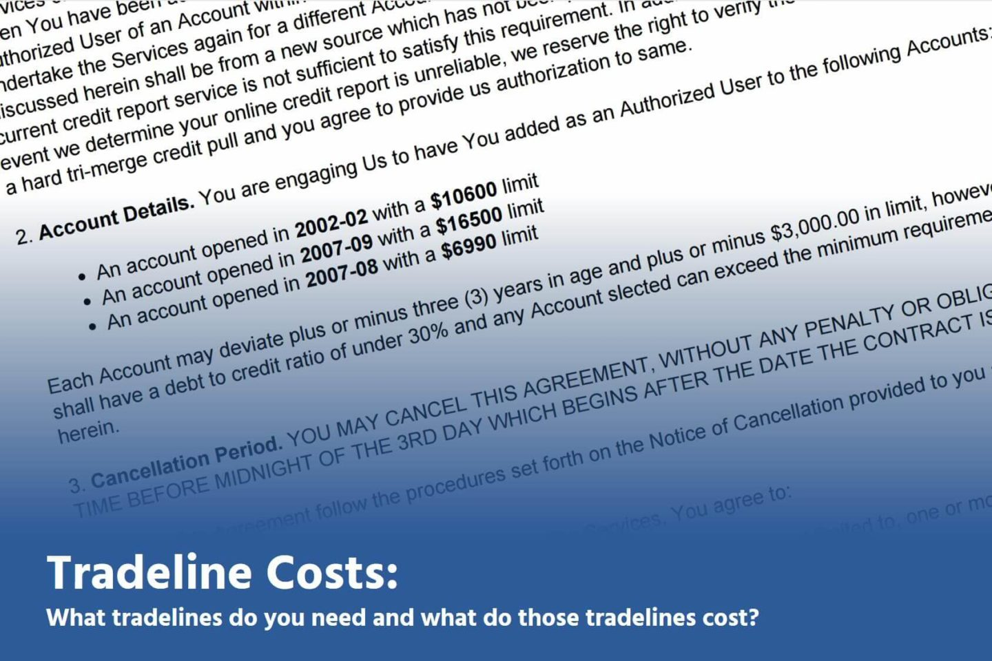 tradelines costs faqs