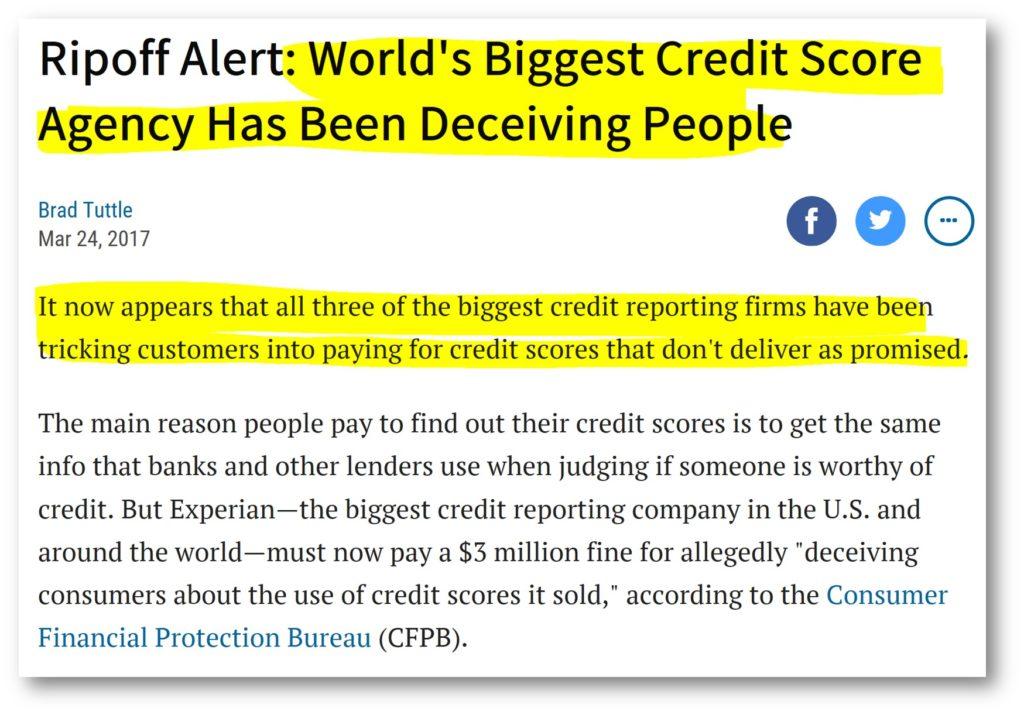 all three credit bureaus lie about credit scores