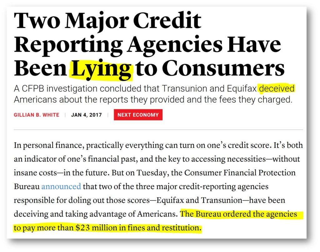 credit bureaus lie about credit scores