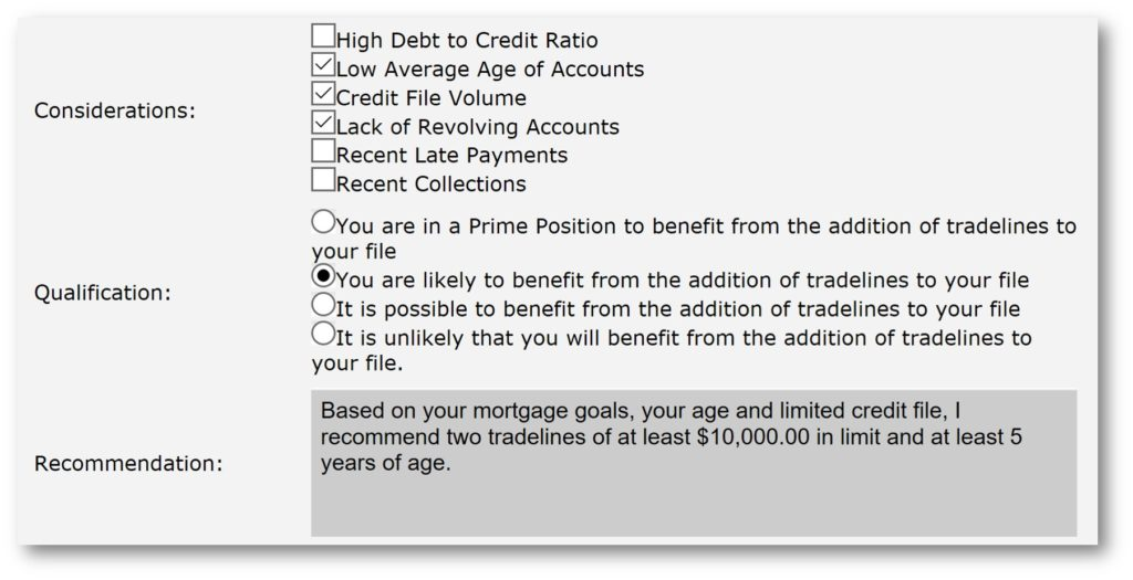 tradelines recommendation example