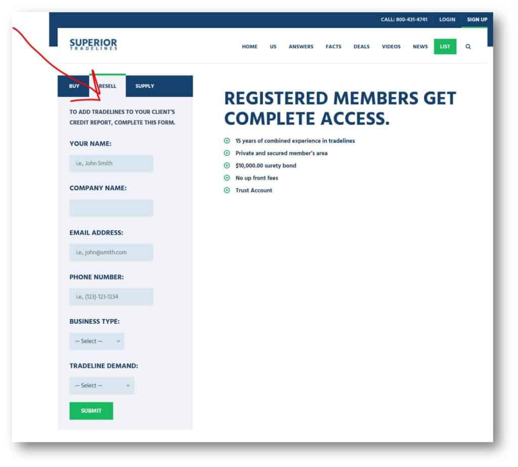 tradeline lists for affiliates