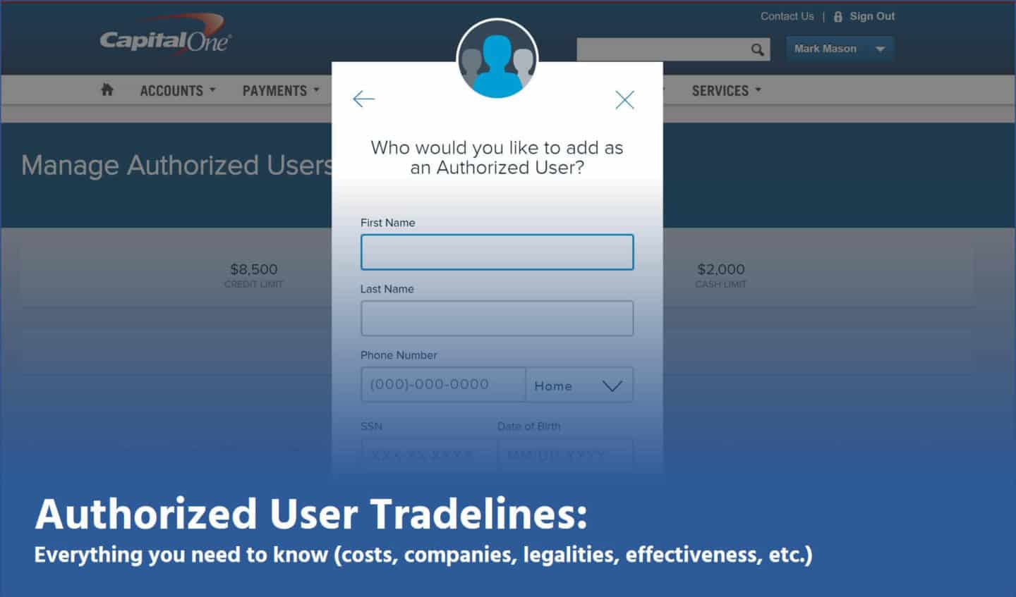 authorized user tradelines information