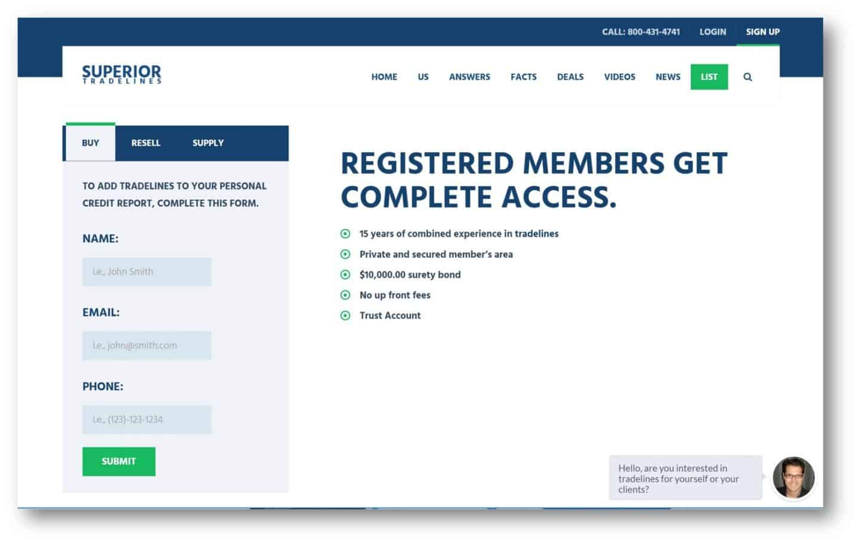 superior tradeliens referral program step one register