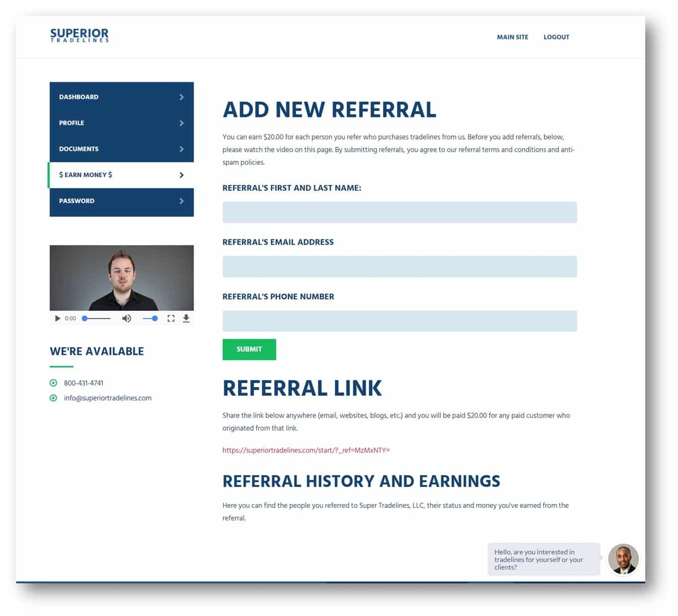 superior tradeliens referral program step two refer